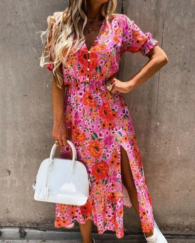 Button V Neck Short Sleeve Printed Elastic Waist Slit Maxi Dress