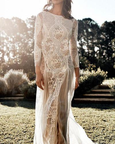 Elegant Floral Lace Hollow Transparent Wedding Dress