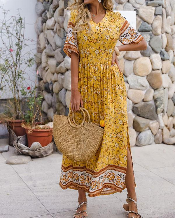 Summer Holiday Ruffle Printed A Line Maxi Dress