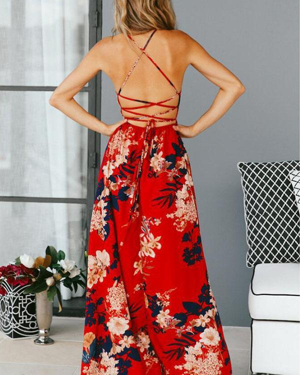 Elegant Spaghetti Strap Lace up Holiday Floral Slit Maxi Dress