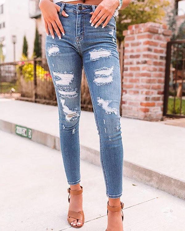 Women Ripped Sexy Denim & Jeans