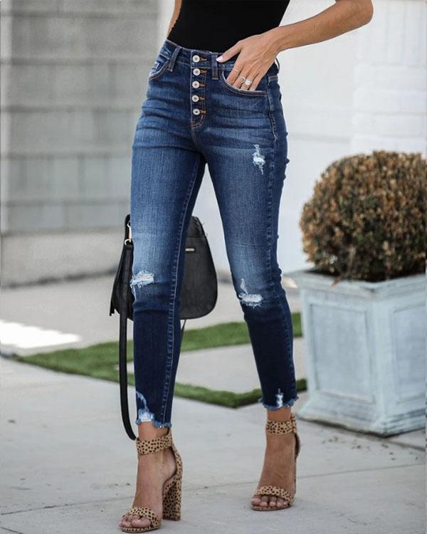 Women Highwaist Button Ripped Skinny Denim & Jeans