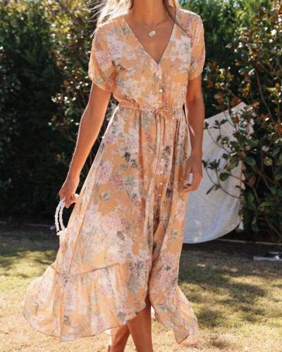 Bohemian Summer Button Irregular Floral Ruffle Dresses