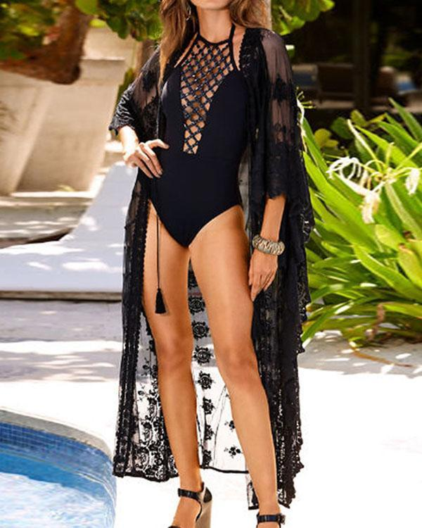 Sheer Lace Crochet Long Cardigan Swimsuit Cover-up
