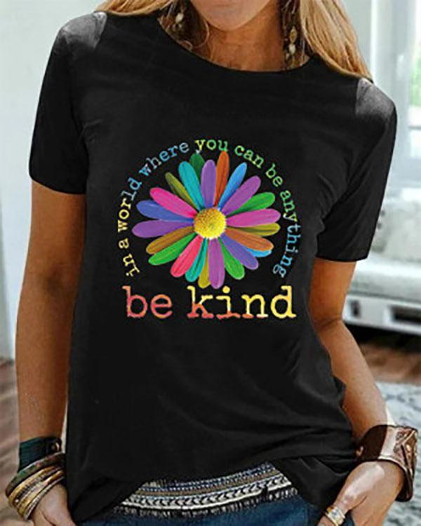 Be Kind Floral Printed Shirts & Tops