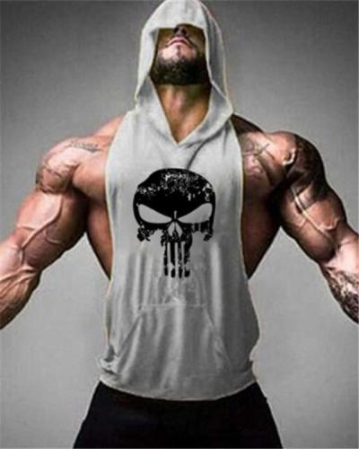 Men's Fashion O-Neck Fitness Letter Printing Casual Vest