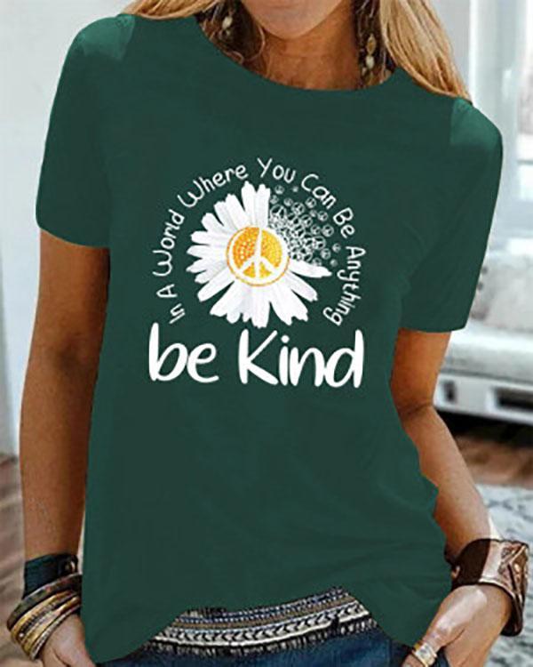 Be Kind Printed Short Sleeve Shirts & Tops