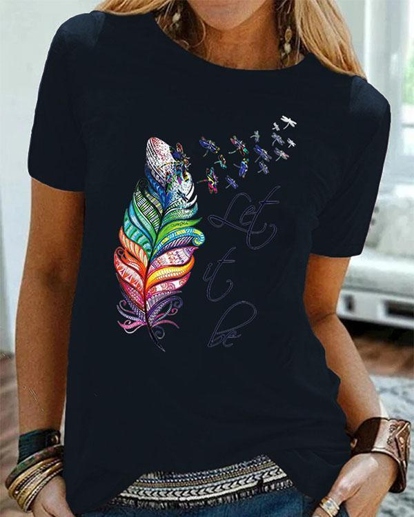 Women Printed Crew Neck Casual Shirts & Tops