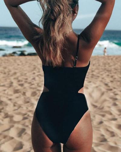 Colorblock Striped High Waist One-Piece Swimwear