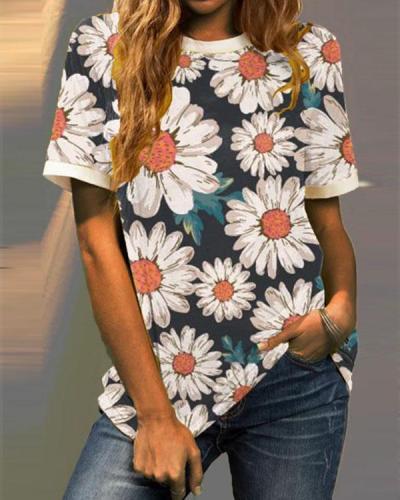 Multiflora Printed Short Sleeve Crew Neck Shirts & Tops