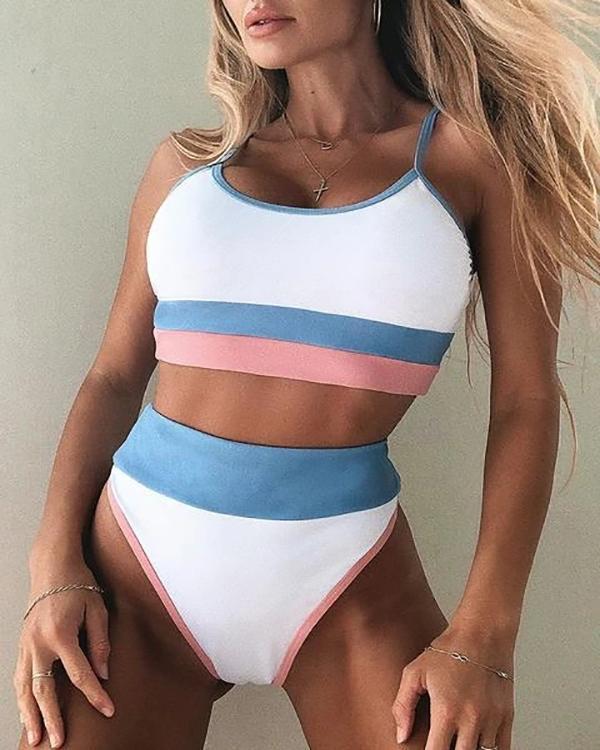 Color Block High Waist Bikini Swimsuit