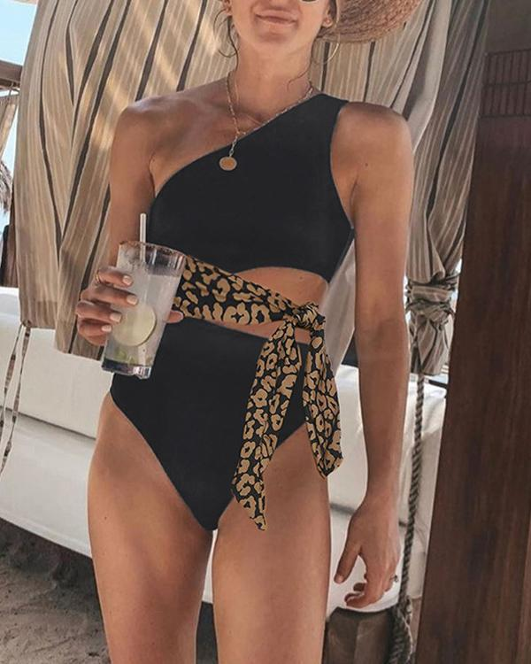 One-Shoulder Leopard Print One-Piece Swimwear
