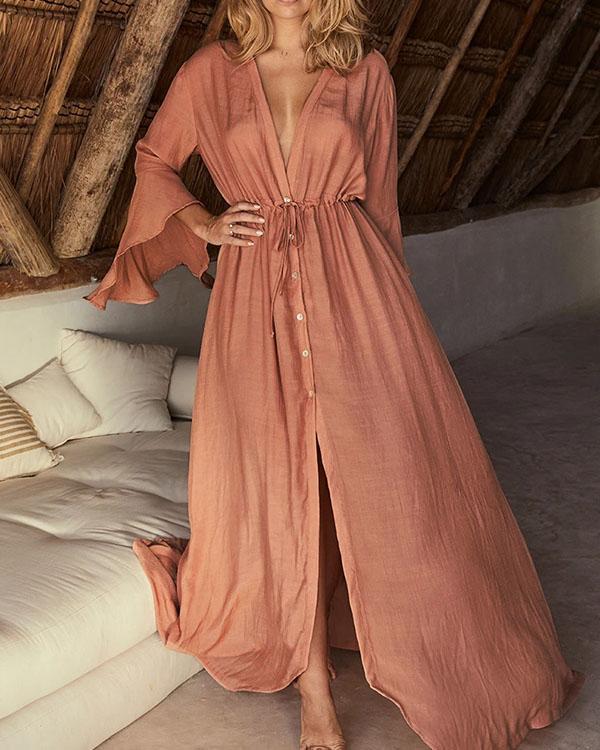 Deep V Neck Flare Sleeve Drawstring Waist Pure Color Button Shirt Dresses