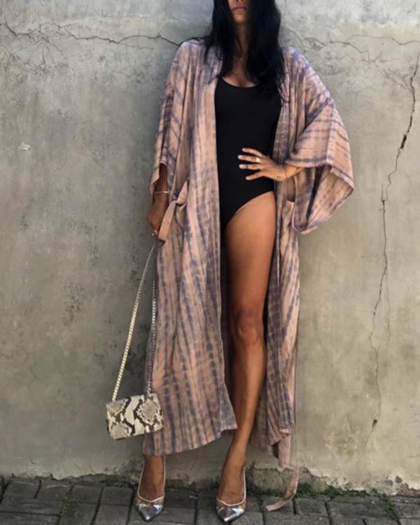 Long Sleeve Printed Pocket Sun Protection Bikini Cover-up with Belt
