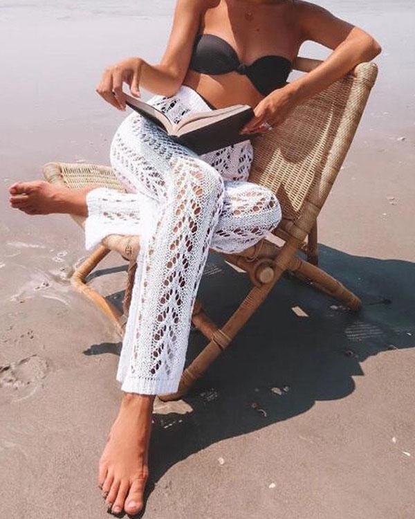 Cotton Crochet Hollow Out Elastic Waist Beachside Pants