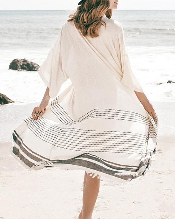 3/4 Sleeve Stripe Tassel Beachside Long Cardigan