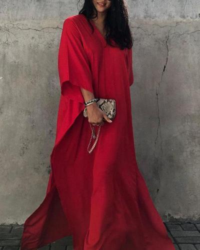 Red 3/4 Sleeve V Neck Plain Color Cover-up Dresses