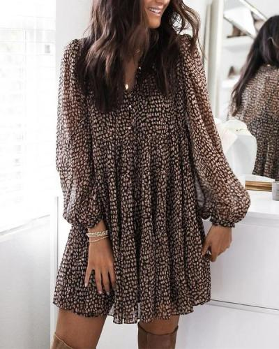 V Neck Puff Sleeve Leopard Swing Dress