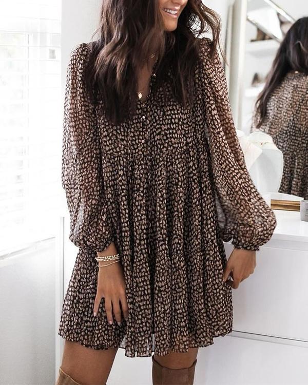 V Neck Puff Sleeve Leopard Swing Dress