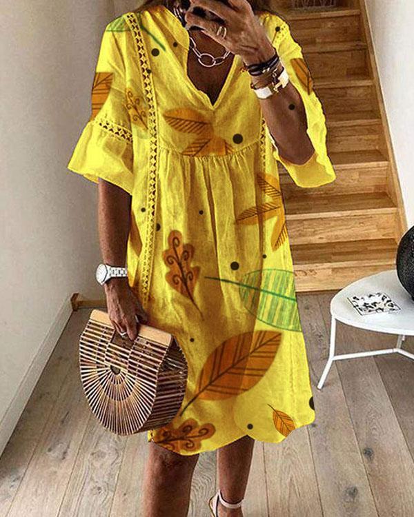 Half Sleeve Leaves Print A-line Midi Dresses