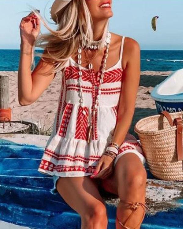 Bohemian Button Ruffle Hem Holiday Camis&Vests