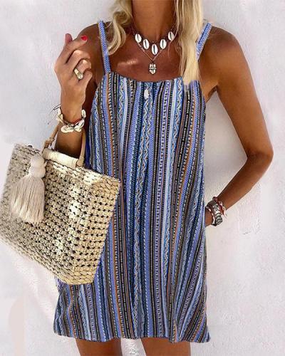 Casual Multicolor Striped Sphagetti Mini Dress