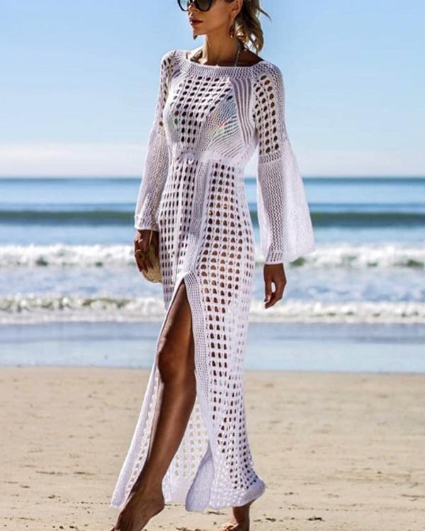 Long Mesh Crochet Tunic Beach Swim Dress Cover ups
