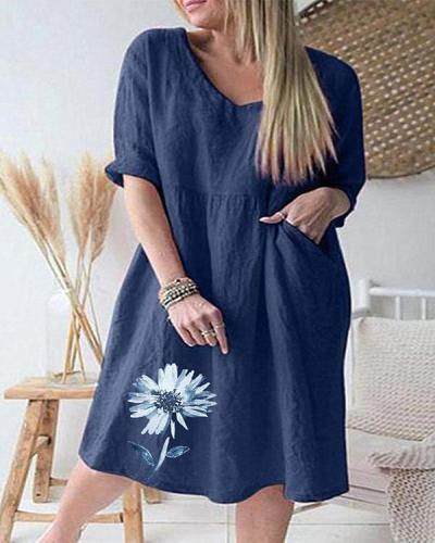 Casual V Neck Flower Print Pocket Linen Dresses