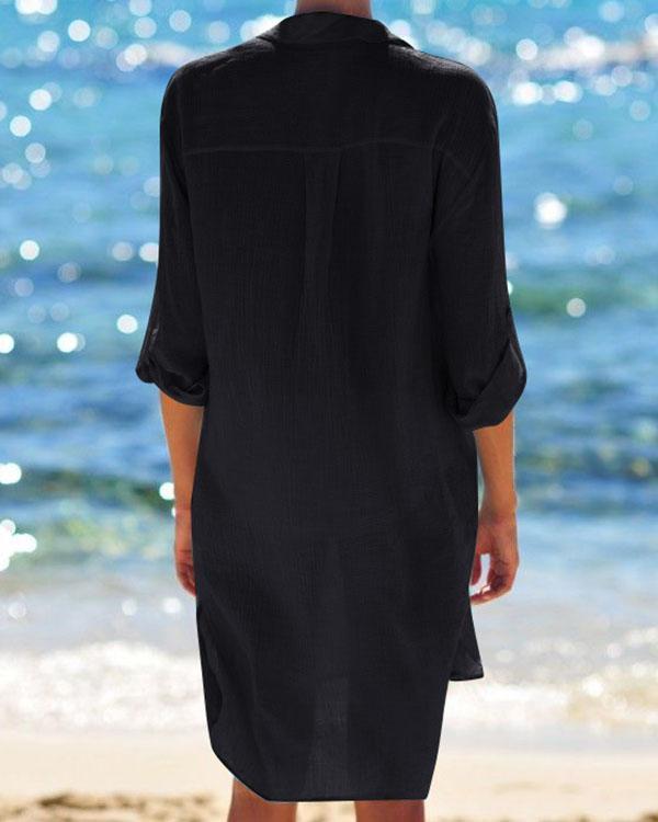 Women Beach Cover Up Button Down Pocket Shirts Sunscreen Bikini Swimsuit Blouse