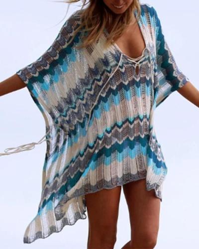 Beach Cover Up Bikini Crochet Knitted Tassel Tie Beachwear Summer Swimsuit Cover Up