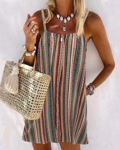 Casual Multicolor Striped Sphagetti Mini Dress