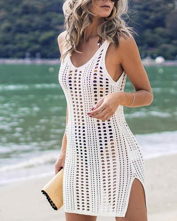 Sleeveless Beachwear Dress Crochet Summer Bikini Cover Up