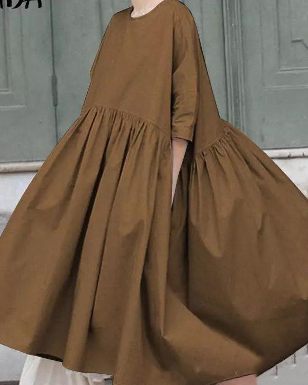 Womens 3/4 Sleeve Casual Kaftan Dresses Plus Size Solid Basic Shirt Dress