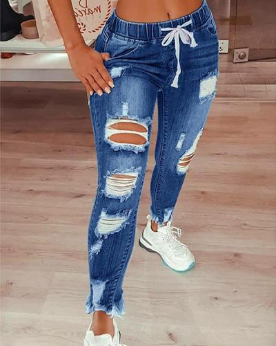 Fashion Casual Solid Ripped Mid Waist Regular Jeans