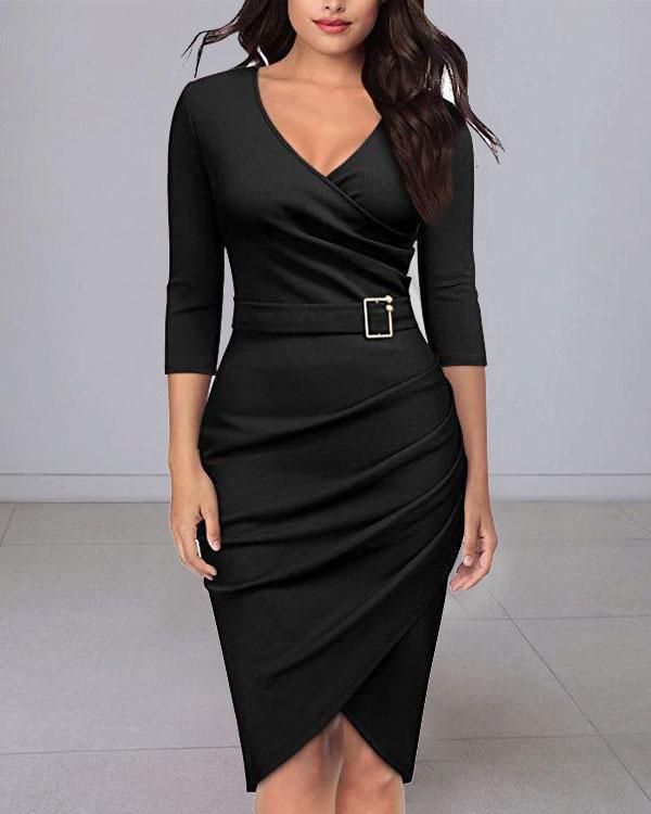 Elegant 3/4 Sleeve V Neck Bodycon Midi Dress