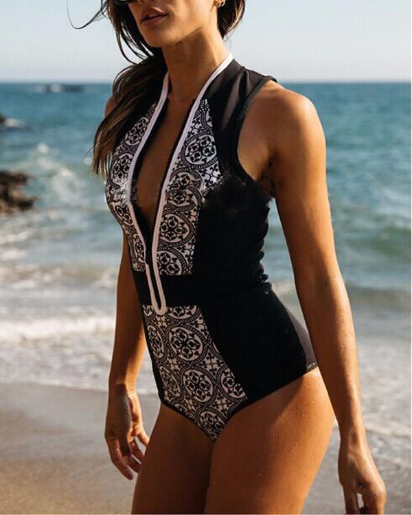 Deep V Neck Floral Black Swimsuit