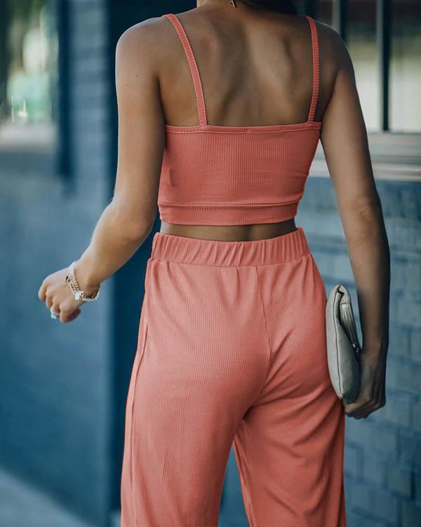 Solid Daily Suit Cami&Pants 2-piece Sets