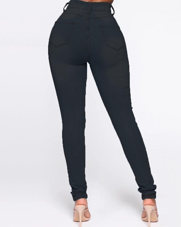 Fashion Casual Solid Basic High Waist Skinny Jeans
