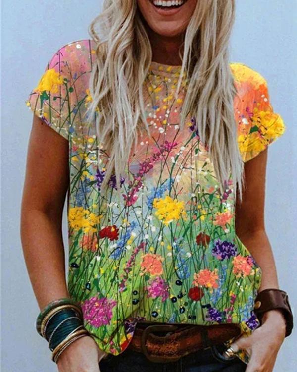 Flower Oil Painting Print T-shirt