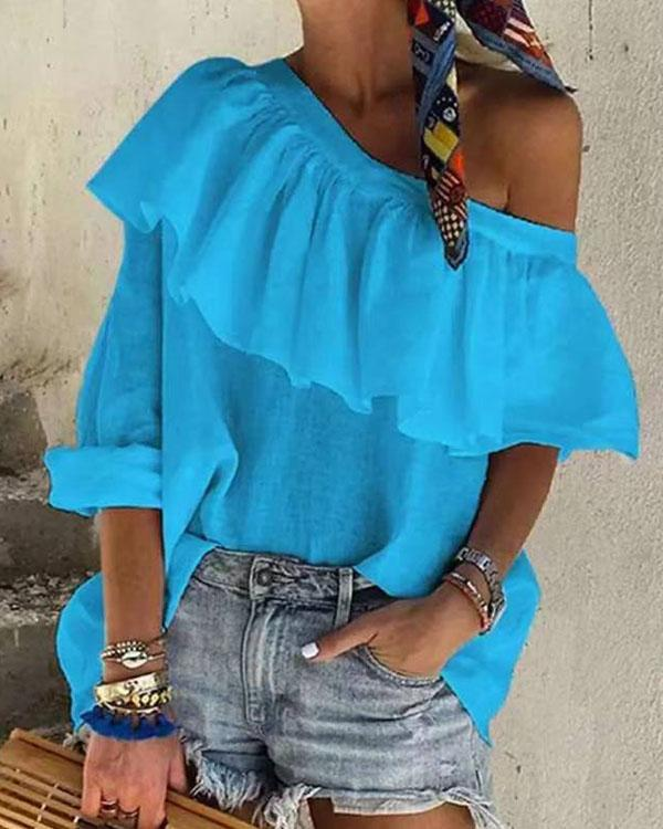 One Shoulder Ruffle Layer Half Sleeve Solid Blouse