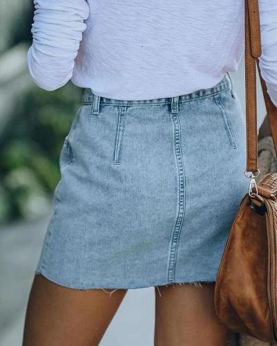 Casual High Waist Asymmetrical Denim Skirt