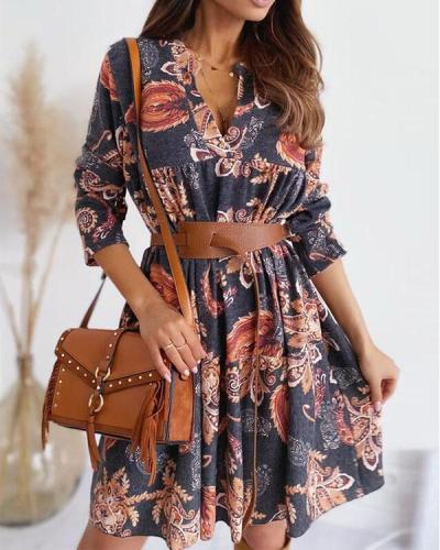 Bohemian Long Sleeves Print Mini Dresses