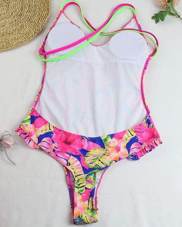V Neck Floral One Piece Swimwear