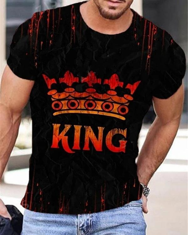 Mens Casual Print Short Sleeve T-shirt