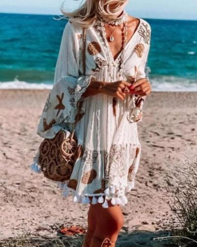 Bohemian 3/4 Sleeves Deep V Neck Tassel Holiday Dresses