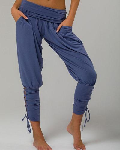 Pure Color High Waist Pockets Casual Lace up Pants