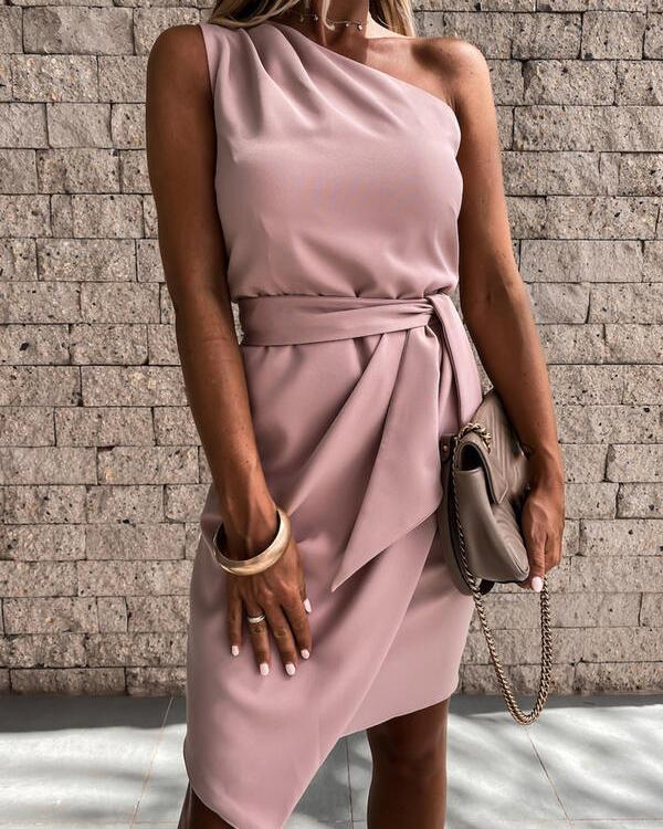 Solid Sleeveless Bodycon Above Knee Party Dresses
