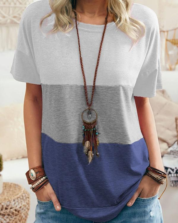 Women Summer Color Stitching Casual T-shirt