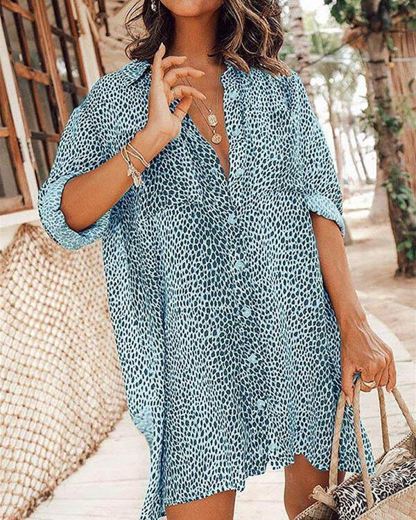 Leopard Long Sleeves Print Mini Blouse Dresses