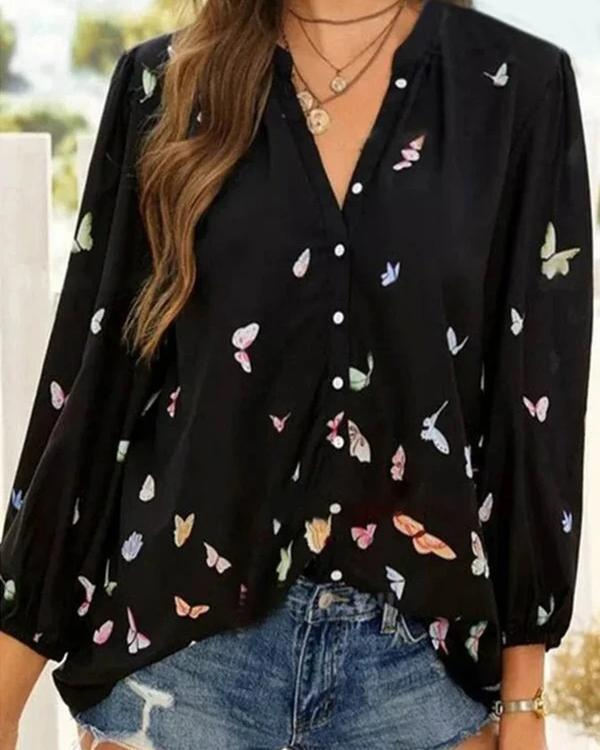 Casual Women Print Long Sleeve Blouses